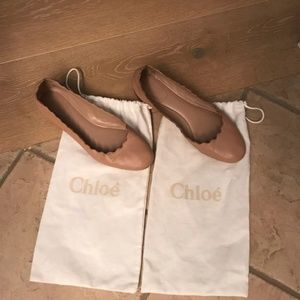 Chloe Scalloped Ballet Flats in Nude